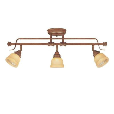 3-Light Adjustable Semi-Flush Mount Walnut Light Fixture with Tea-Stained Glass Shades
