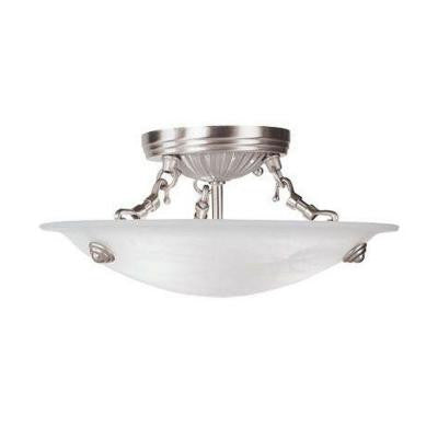 3-Light Brushed Nickel Flushmount with White Alabaster Glass Shade