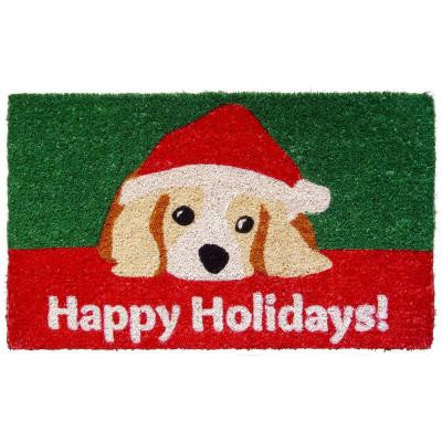 Dog Lovers Holiday 18 in. x 30 in. Hand Woven Coconut Fiber Door Mat