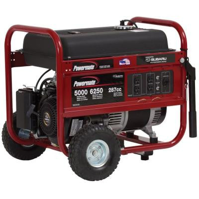 5,000-Watt Gasoline Powered Manual Start Portable Generator with Subaru Engine