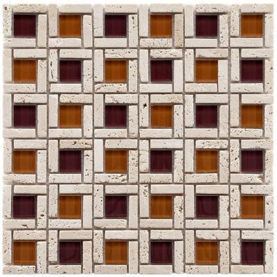 Tessera Cubic Sienna 11-3/4 in. x 11-3/4 in. x 8 mm Glass and Stone Mosaic Wall Tile
