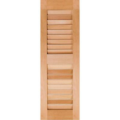 12 in. x 55 in. Exterior Real Wood Sapele Mahogany Louvered Shutters Pair Unfinished
