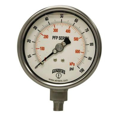 PFP Series 4 in. Stainless Steel Liquid Filled Case Pressure Gauge with 1/4 in. NPT LM and Range of 0-100 psi/kPa