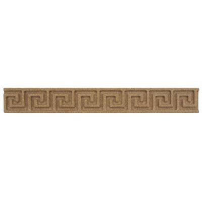 Contempo Greek Key Noce Travertine Liner 1 in. x 8 in. Wall Trim Tile