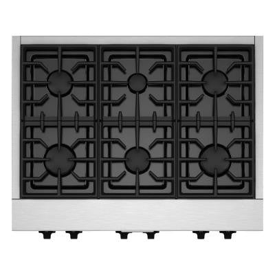 36 in. Gas Cooktop in Stainless Steel with 6 Burners including Two 20000-BTU Ultra Power Dual-Flame Burners