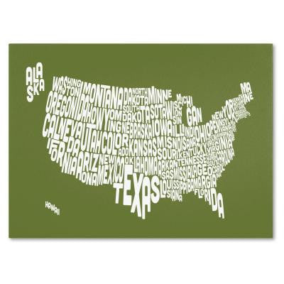 14 in. x 19 in. USA States Text Map - Olive Canvas Art