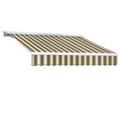 10 ft. DESTIN EX Model Right Motor Retractable with Hood Awning (96 in. Projection) in Brown and Tan Multi Stripe