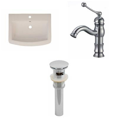 24 in. W x 18 in. D Ceramic Vanity Top Set with Basin in Biscuit with Single Hole cUPC Faucet and Drain