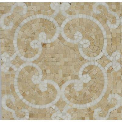 Marquess Thassos and Crema Polished Marble Floor and Wall Tile - 3 in. x 6 in. Tile Sample