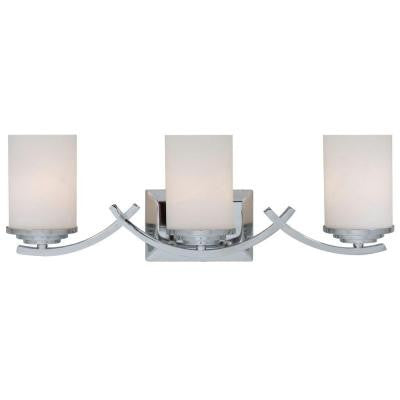 Vanity Lighting Family 3-Light Chrome Bathroom Vanity Light with White Glass Shade