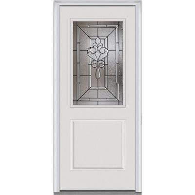 36 in. x 80 in. Fontainebleau Decorative Glass 1/2 Lite 1-Panel Primed White Fiberglass Smooth Prehung Front Door