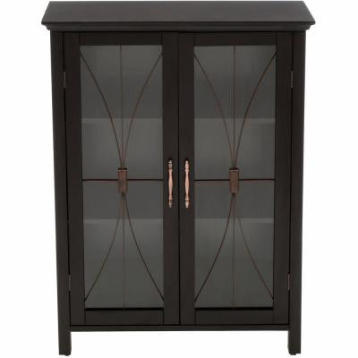 Victorian 26 in. W x 12.5 in. D x 34 in. H Floor Cabinet in Espresso