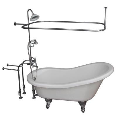 5 ft. Acrylic Ball and Claw Feet Slipper Tub in White with Polished Chrome Accessories