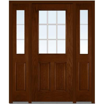 64 in. x 80 in. Classic Clear Glass GBG 1/2 Lite Finished Oak Fiberglass Prehung Front Door with Sidelites