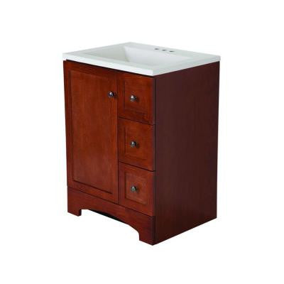 Lancaster 24 in. Vanity in Amber with Alpine AB Engineered Composite Vanity Top in White