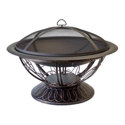 30 in. Scroll Wood Burning Firepit in Black