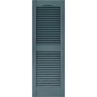 15 in. x 43 in. Louvered Vinyl Exterior Shutters Pair in #004 Wedgewood Blue