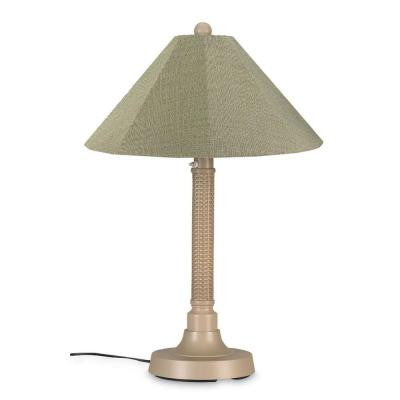 Bahama Weave 34 in. Mojavi Outdoor Table Lamp with Basil Linen Shade