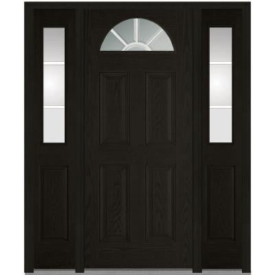64 in. x 80 in. Classic Clear Glass GBG 1/4 Lite Finished Oak Fiberglass Prehung Front Door with Sidelites
