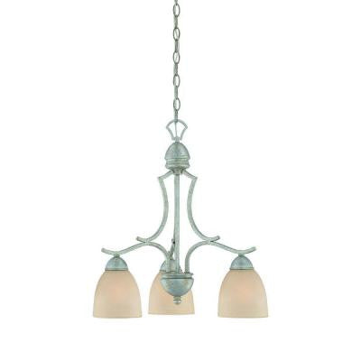 Triton 3-Light Moonlight Silver Chandelier with Tea Stained Glass Shade