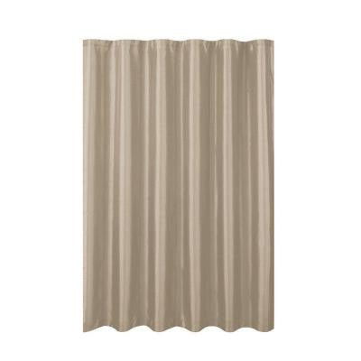 Jane Faux Silk 70 in. W x 72 in. L Shower Curtain with Metal Roller Hooks in Taupe