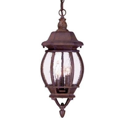 Chateau Collection Hanging Lantern 3-Light Outdoor Burled Walnut Light Fixture