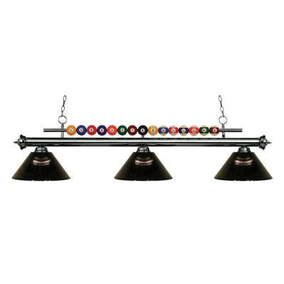 Kerstin 3-Light Gun Metal Billiard Light