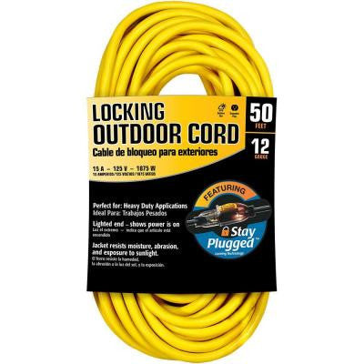 50 ft. 12/3 Stay Plug Extension Cord - Yellow