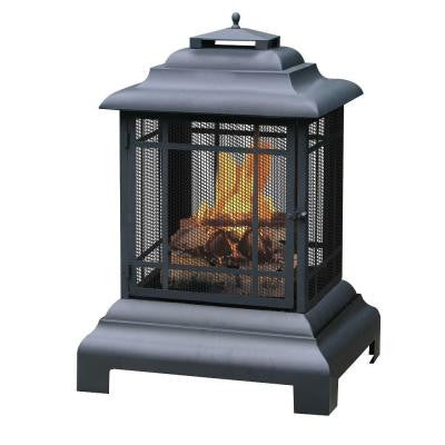 40.5 in. High Black Outdoor Fireplace