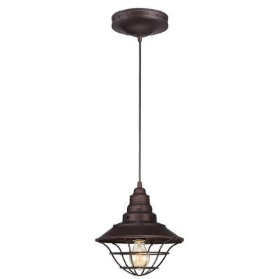 1-Light Oil Rubbed Bronze Adjustable Mini Pendant with Metal Lantern Shade