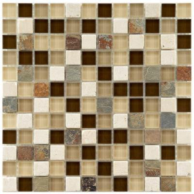 Tessera Square Nassau 11-3/4 in. x 11-3/4 in. x 8 mm Stone and Glass Mosaic Wall Tile