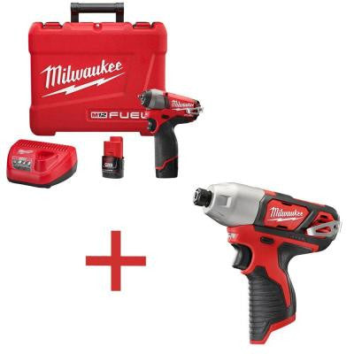 M12 FUEL 12-Volt Lithium-Ion Brushless 1/4 in. Cordless Impact Wrench Kit with M12 1/4 in. Hex Impact (Tool-Only)