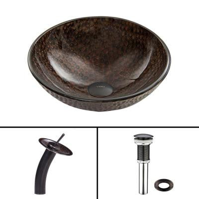 Glass Vessel Sink in Copper Shield with Waterfall Faucet Set in Antique Rubbed Bronze
