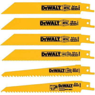 6-Pieces Metal/Woodcutting Reciprocating Saw Blade Set