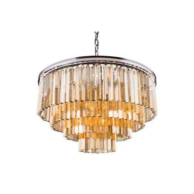 Sydney 17-Light Polished Nickel Chandelier with Golden Teak Smoky Crystal