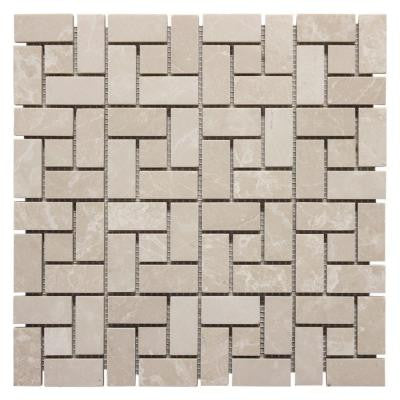 12 in. x 12 in. Basketry Marble Mosaic Wall Tile