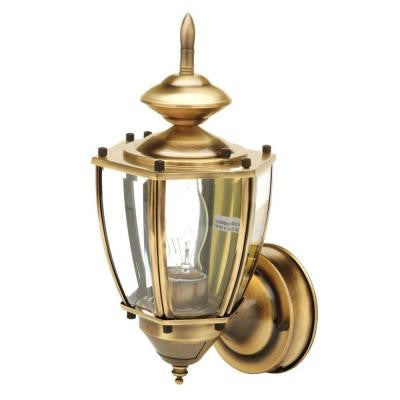 19 in. Antique Brass Motion Activated Outdoor Beveled Glass Coach Lantern