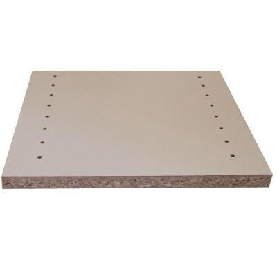 Melamine White Shelf Drilled Board (Common: 3/4 in. x 15-3/4 in. x 8 ft.; Actual: 0.75 in. x 15.75 in. x 97 in.)