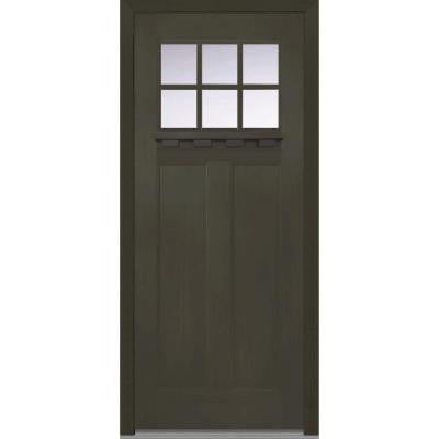 36 in. x 80 in. Classic Clear Glass 6 Lite Craftsman Finished Fir Fiberglass Prehung Front Door with Dentil Shelf