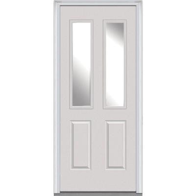 32 in. x 80 in. Classic Clear Glass 2 Lite 2-Panel Primed White Fiberglass Smooth Prehung Front Door