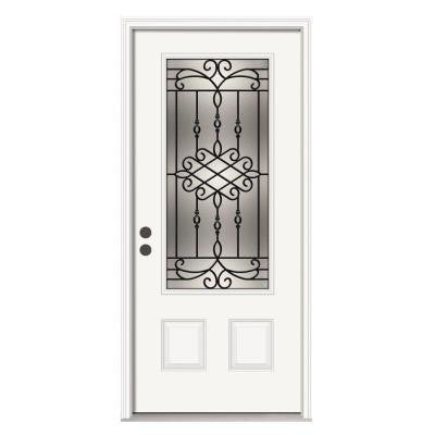 36 in. x 80 in. Sanibel 3/4 Lite Primed Premium Steel Prehung Front Door with Brickmould