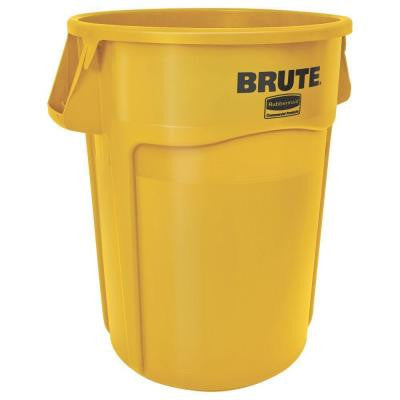 BRUTE 44 Gal. Yellow Round Vented Trash Can