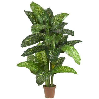 Green 5 ft. Dieffenbachia Silk Plant (Real Touch)