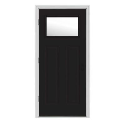32 in. x 80 in. Craftsman 1-Lite Black Painted with White Interior Premium Steel Prehung Front Door with Brickmould