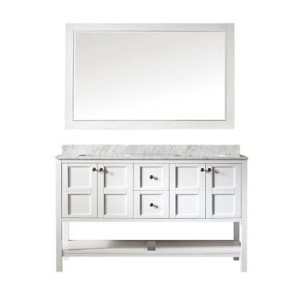 Florence 60 in. W x 22 in. D x 35 in. H Vanity in White with Marble Vanity Top in White with Basin and Mirror