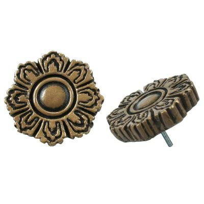 Contempo Flora Bronze 1-1/5 in. x 1-1/5 in. Mosaic Medallion Pin Insert Wall Tile (4-Pack)