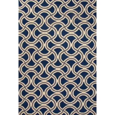 Hand Made Blue 5 ft. x 7 ft. 6 in. Geometric Area Rug