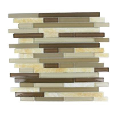 Temple Taffee 12 in. x 12 in. x 8 mm Marble and Glass Mosaic Floor and Wall Tile