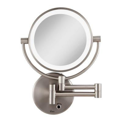 12 in. L x 8.75 in. W LED Lighted Wall Mirror in Satin Nickel