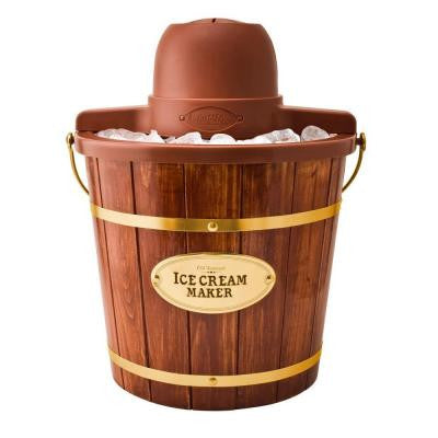 4-Quart Wooden Bucket Electric Ice Cream Maker